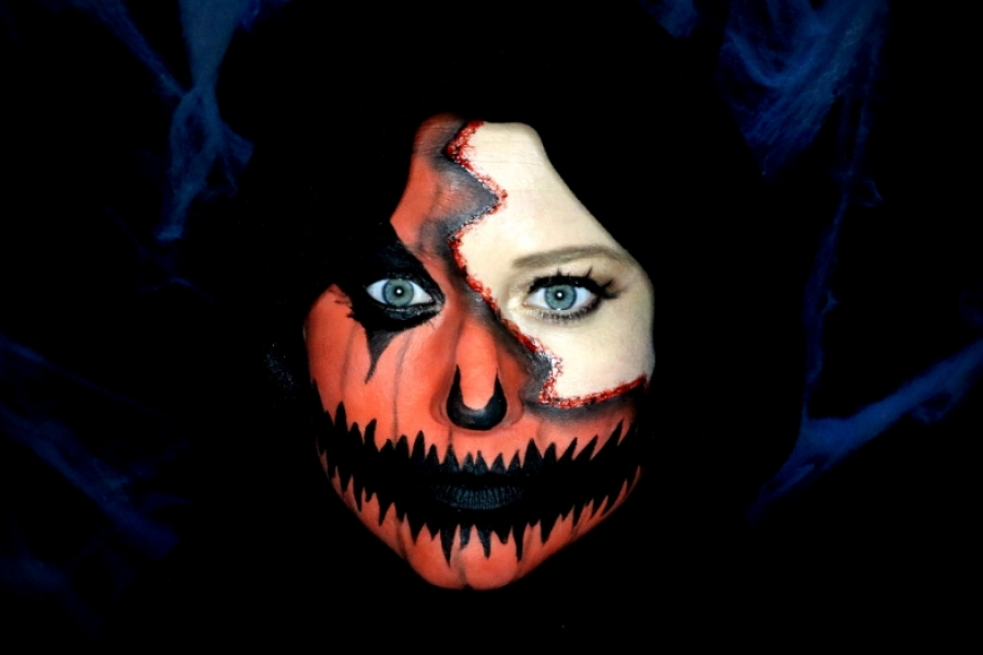 Pompoen Halloween.Enge Pompoen Make Up Halloween Tutorial